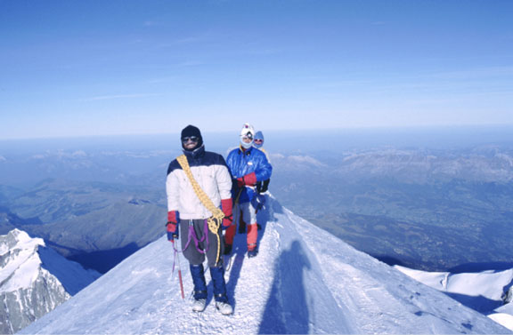 At the summit of Mont Blanc (1986) - Yann, Tony, Steve, John & Toby