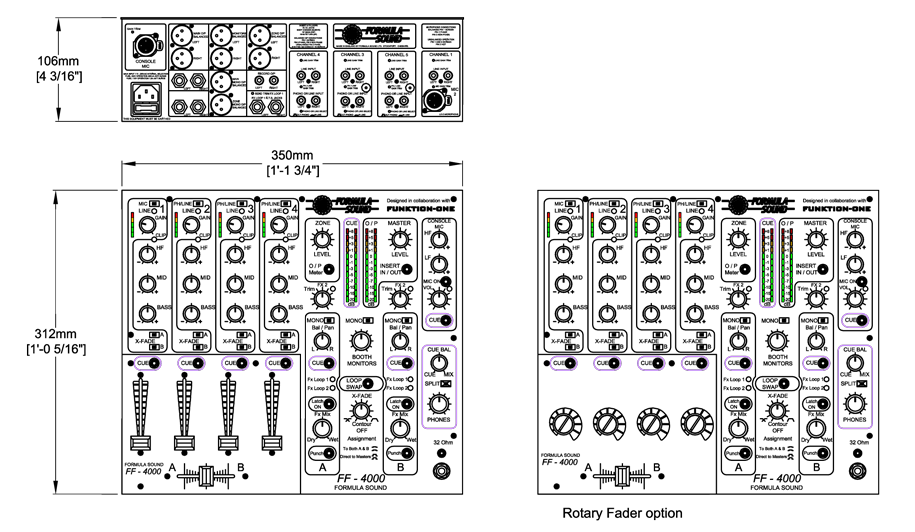 FF4000 DJ Mixer Technical Drawing